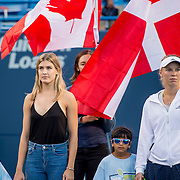 August 22, 2016, New Haven, Connecticut: <br /> Eugenie Bouchard of Canada and Caroline Wozniacki of Denmark look on during the Opening Ceremonies on Day 4 of the 2016 Connecticut Open at the Yale University Tennis Center on Monday August  22, 2016 in New Haven, Connecticut. <br /> (Photo by Billie Weiss/Connecticut Open)
