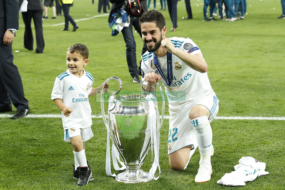 (L-R) Isco Alarcon Calderon, Isco of Real Madrid with UEFA Champions League trophy, Coupe des clubs Champions Europeens during the UEFA Champions League final between Real Madrid and Liverpool on May 26, 2018 at NSC Olimpiyskiy Stadium in Kyiv, Ukraine