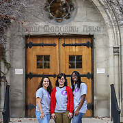 Dominican University students who belong to a interfaith group at the school, pose for a photograph, Friday, November 14, 2010. Photo by J. Geil.