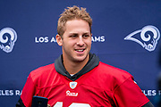 LA Rams Quarterback Jared Goff (16) during the training session for Los Angeles Rams at the Los Angeles Memorial Coliseum, Los Angeles, USA on 25 October 2019.