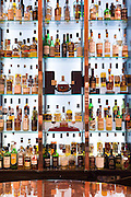 Single malt Scotch whisky - Glenmorangie, Glenlivet, Macalan, Balvenie, Bowmore, Glenkinchie, Laphroig, Glengoyne, Springbank, Dalmore, Famous Grouse, Lagavulin, Ardbeg, Aberlour, etc. - in the Great Scots Bar at The Cameron House Hotel Glasgow, Scotland