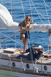 """Lily James and Josh Dylan filming a scene of """"Mamma Mia 2 - Here We Go Again"""" in Vis, Croatia. 13 Sep 2017 Pictured: Lily James, Josh Dylan. Photo credit: MEGA TheMegaAgency.com +1 888 505 6342"""