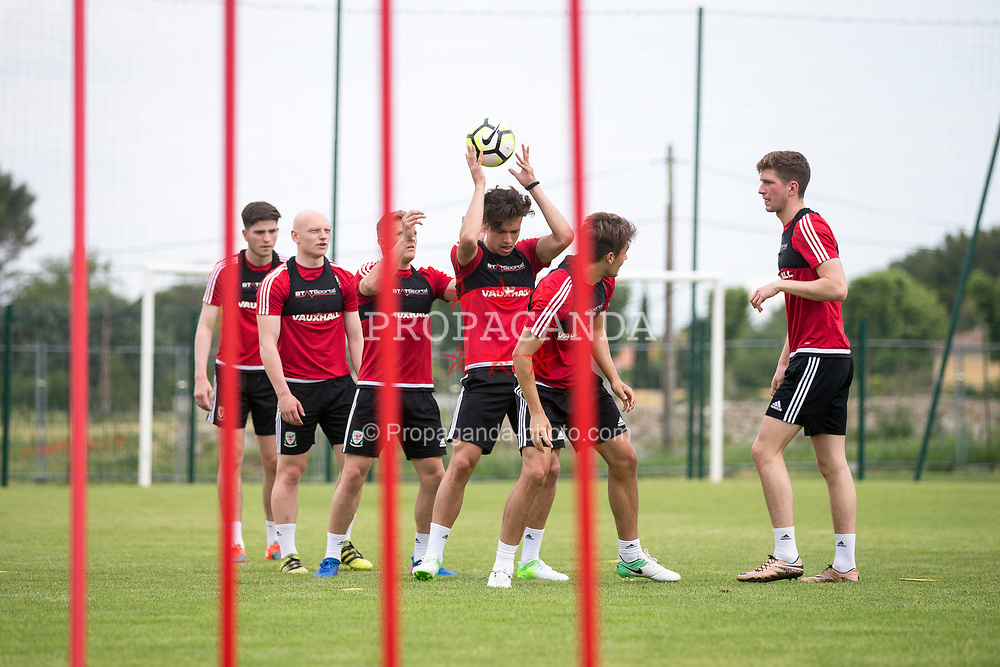 SAINT-CANNAT, FRANCE - Thursday, June 1, 2017:  Wales' Jack Evans takes part in a training session with team mates during the Toulon Tournament at the Stade Municipal Albert Barre. (Pic by Laura Malkin/Propaganda)