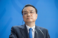 09 JUL 2018, BERLIN/GERMANY:<br /> Li Keqiang, Ministerpraesident der VR China, waehrend einer Pressekonferenz zu den Ergebnissen der Deutsch-Chinesische Regierungskonsultationen, Bundeskanzleramt<br /> IMAGE: 20180709-02-062