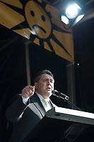 """2012, BERLIN/GERMANY:<br /> Sigmar Gabriel, SPD Parteivorsitzender,haelt eine Rede, Kundgebung gegen das Solarausstiegsgesetz und gegen das Scheitern der Energiewende unter dem Motto: """"Stoppt den Solar-Ausstieg"""", vor dem Brandenburger Tor<br /> IMAGE: 20120305-01-029<br /> KEYWORDS: Sonnenenergie, Demo, Demostration, Demonstrant, Demonstraten, Solarwirtschaft, Subventionen"""