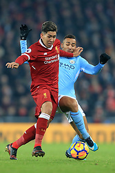 14th January 2018 - Premier League - Liverpool v Manchester City - Roberto Firmino of Liverpool battles with Danilo of Man City - Photo: Simon Stacpoole / Offside.