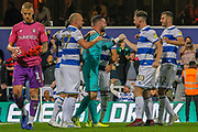 Queens Park Rangers defender Toni Leistner (37) and other Queens Park Rangers players celebrate after their successful penalty shoot-out during the EFL Cup match between Queens Park Rangers and Bristol City at the Kiyan Prince Foundation Stadium, London, England on 13 August 2019.