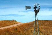 Kansas / Ellsworth County / Windmill / Dirt Road / Smoky Hills Region