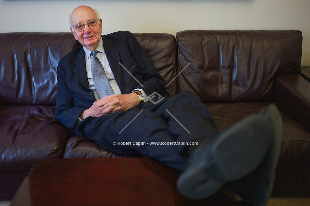 Economist and former Chairman of the Federal Reserve, Paul Volcker, in his offices in New York...Photo by Robert Caplin..