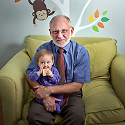 Dr. Richard Ferber, photographed in his son's nursery with his twin granddaughters in Washington, DC. Dr. Ferber is the founder and former director of the Center for Pediatric Sleep Disorders at Children's Hospital in Boston. Since the publication of his book Solve Your Child's Sleep Problems in 1985, he's become known as a leading - and controversial - expert on children's sleep.