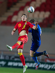 LLANELLI, WALES - Friday, March 22, 2013: Wales' xxxx and Moldova's xxxx during the 2015 UEFA European Under-21 Championship Qualifying Group A match at Parc y Scarlets. (Pic by Kieran McManus/Propaganda)