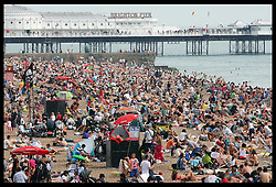 Sun worshippers enjoying the hot weather on Brighton beach, Sunday ,19th August 2012. Photo by: Stephen Lock / i-Images