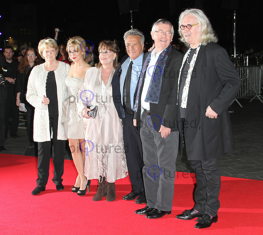 LONDON - OCTOBER 15: Dame Maggie Smith; Sheridan Smith; Pauline Collins; Dustin Hoffman; Sir Tom Courtenay; Billy Connolly attended the screening of 'Quartet' at the Odeon, Leicester Square, London, UK. October 15, 2012. (Photo by Richard Goldschmidt)