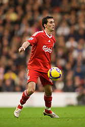 LIVERPOOL, ENGLAND - Saturday, November 22, 2008: Liverpool's Alvaro Arbeloa in action against Fulham during the Premiership match at Anfield. (Photo by David Rawcliffe/Propaganda)