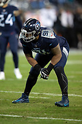 Tennessee Titans outside linebacker Derrick Morgan (91) gets set during the week 14 regular season NFL football game against the Jacksonville Jaguars on Thursday, Dec. 6, 2018 in Nashville, Tenn. The Titans won the game 30-9. (©Paul Anthony Spinelli)