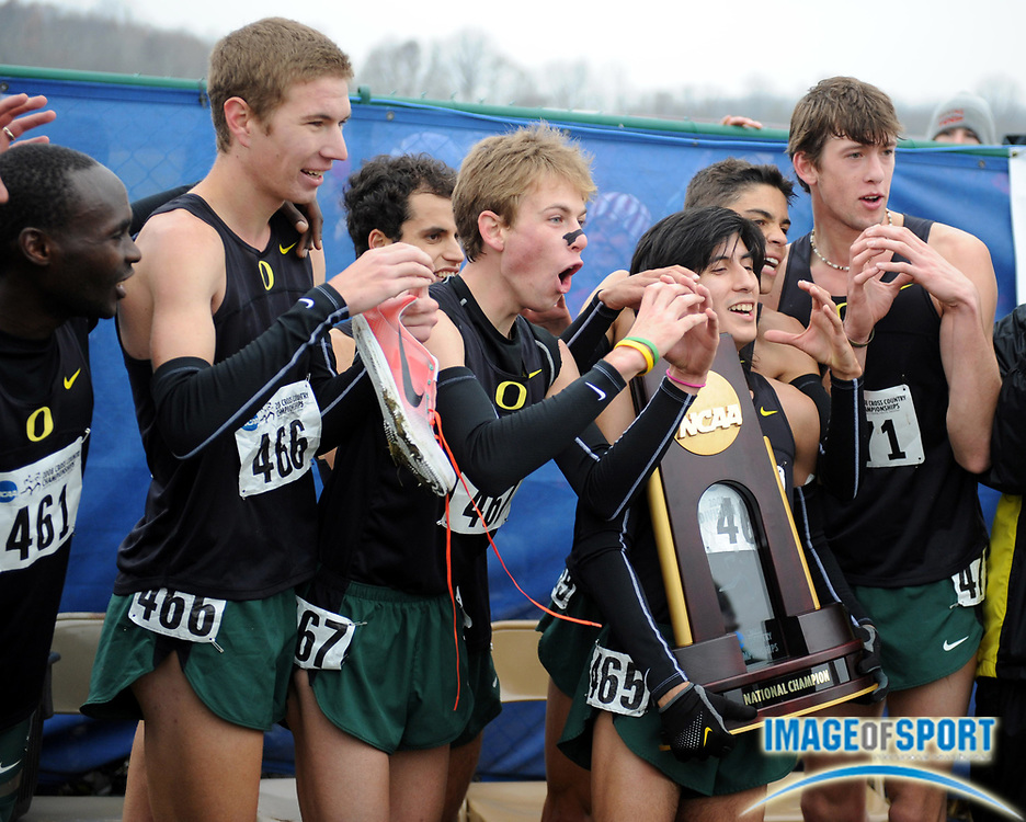 Nov 24, 2008; Terre Haute, IN, USA; The Oregon men pose with the championship plaque after winning the team title  in the NCAA cross country championships at the LaVern Gibson cross country course. From left: Shadrack Kiptoo-Biwott, Kenny Klotz, Galen Rupp, Diego Mercado, Matthew Centrowitz and Andrew Wheating.
