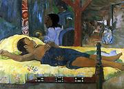 Te tamari no atua' (Nativity), 1896. Oil on canvas. Eugène Henri Paul Gauguin (1848–1903) Post-Impressionist French painter. Birth of Christ in a Tahitian setting. Religion Christian Birth