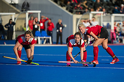Holcombe prepare for a penatly corner. East Grinstead v Holcombe - Semi-Final - Investec Women's Hockey League Finals, Lee Valley Hockey & Tennis Centre, London, UK on 22 April 2017. Photo: Simon Parker