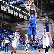 Westchester Knicks Forward Orlando Sanchez (21) dunks the ball in the second half of a NBA D-league regular season basketball game between the Delaware 87ers and the Westchester Knicks (New York Knicks) Wednesday, Feb. 17, 2015 at The Bob Carpenter Sports Convocation Center in Newark, DEL