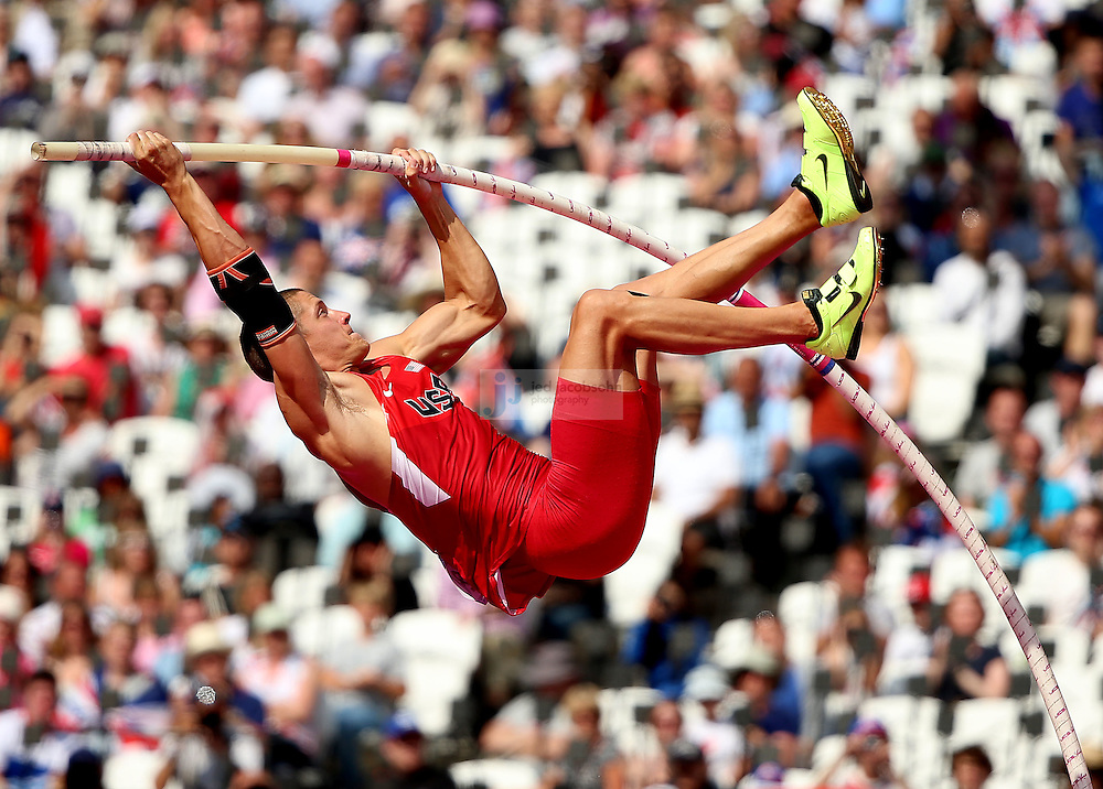 Trey Hardee of the USA competes in the high jump portion of the decathlon during track and field at the Olympic Stadium during day 13 of the London Olympic Games in London, England, United Kingdom on August 9, 2012..(Jed Jacobsohn/for The New York Times)..
