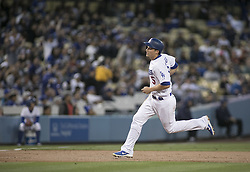 April 14, 2017 - Los Angeles, California, U.S - Corey Seager #5 of the Los Angeles Dodgers heads to third base during their game against the Arizona Diamondbacks on Friday April 14, 2017 in Los Angeles California. Dodgers defeat the Diamondbacks, 7-1. (Credit Image: © Prensa Internacional via ZUMA Wire)