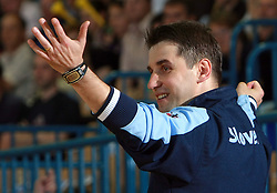 Coach of Slovenia Robert Begus at  handball game between women national teams of Slovenia and Belorussia, second qualification game for the European Chamionship 2009, on June 7, 2008, in Arena Zlatorog, Celje, Slovenija. (Photo by Vid Ponikvar / Sportal Images)