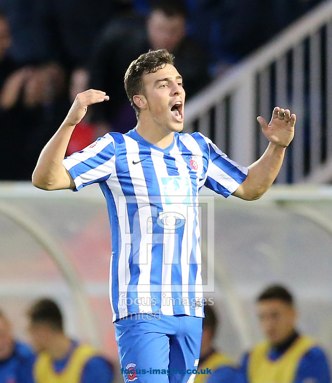 Michael Duckworth of Hartlepool United rallies the fans after equalizing during the Sky Bet League 2 match at Victoria Park, Hartlepool<br /> Picture by Simon Moore/Focus Images Ltd 07807 671782<br /> 01/11/2014