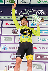 Winner Primoz Roglic of Team Lotto NL Jumbo  in Overall classification celebrates during trophy ceremony after the 5th Time Trial Stage of 25th Tour de Slovenie 2018 cycling race between Trebnje and Novo mesto (25,5 km), on June 17, 2018 in  Slovenia. Photo by Vid Ponikvar / Sportida