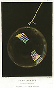 Thin films illustrated by a soap bubble. Surface tension of soapy water allows bubbles to form.  Thomas Young (1773-1829) used his Wave (Undulatory) theory of light to explain colours of thin films. Chromolithograph, 1872.