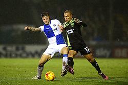James Clarke of Bristol Rovers is challenged by James Vaughan of Bury - Mandatory by-line: Dougie Allward/JMP - 10/12/2016 - FOOTBALL - Memorial Stadium - Bristol, England - Bristol Rovers v Bury - Sky Bet League One