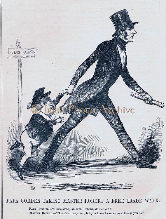 Repeal of Corn Laws and abolition of tariffs. Richard Cobden (1804-1865) an advocate of Free Trade , hurrying Robert  Peel the Prime Minister, along the Free Trade Path. Corn Laws were repealed in 1846. Cartoon by Richard Doyle from 'Punch', London, 1845.