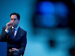 © London News Pictures. 23/09/2013 . Brighton, UK.  Leader of the Labour Party ED MILIBAND on stage on day two of the Labour Party Annual Conference in Brighton. Photo credit : Ben Cawthra/LNP