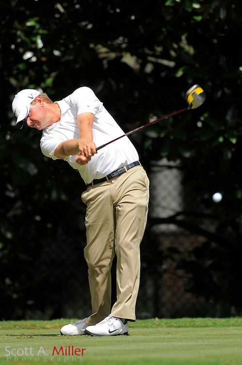 Lucas Glover (USA) tees off on the fourth hole during the first round of the PGA Tour Championship at East Lake Golf Club on Sept. 24, 2009 in Decatur, Ga.     ..©2009 Scott A. Miller