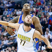 08 March 2016: Denver Nuggets center Joffrey Lauvergne (77) vies for the rebound with New York Knicks center Kevin Seraphin (1) during the Denver Nuggets 110-94 victory over the New York Knicks, at the Pepsi Center, Denver, Colorado, USA.