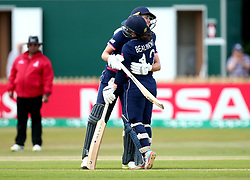 Natalie Sciver of England Women and Tammy Beaumont of England Women hug during their large partnership together - Mandatory by-line: Robbie Stephenson/JMP - 12/07/2017 - CRICKET - The County Ground Derby - Derby, United Kingdom - England v New Zealand - ICC Women's World Cup match 21