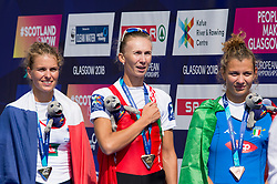 Lightweight Women's Single Sculls Final medal ceremony (from left to right) France's Laura Tarantola, Belarus' Alena Furman and Italy's Clara Guerra during day four of the 2018 European Championships at Strathclyde Country Park, North Lanarkshire. PRESS ASSOCIATION Photo. Picture date: Sunday August 5, 2018. See PA story ROWING European. Photo credit should read: Ian Rutherford/PA Wire. RESTRICTIONS: Editorial use only, no commercial use without prior permission