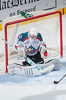 KELOWNA, CANADA - MARCH 27:Jackson Whistle #1 of Kelowna Rockets makes a save against the Tri-City Americans  on March 27, 2015 at Prospera Place in Kelowna, British Columbia, Canada.  (Photo by Marissa Baecker/Shoot the Breeze)  *** Local Caption *** Jackson Whistle;