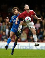Photo: Ed Godden.<br />Bristol City v Doncaster Rovers. Coca Cola League 1. 28/10/2006. Doncaster's Jason Price (L) challenges Jamie McAllister for the ball.