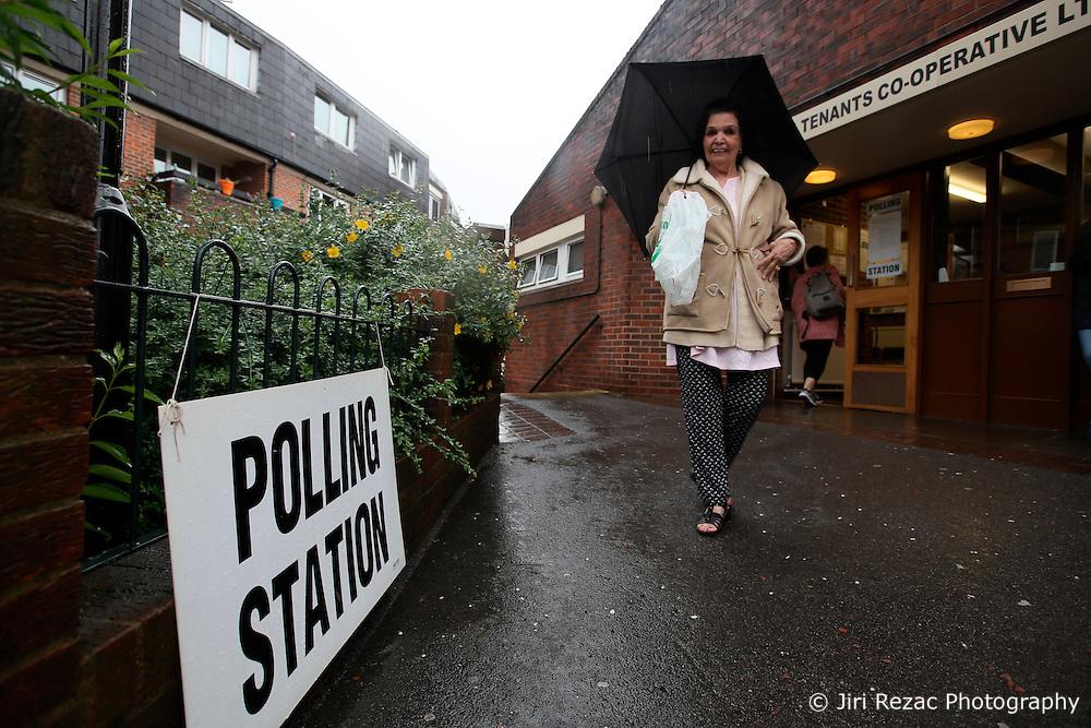 UK ENGLAND LONDON 23JUN16 - Voter Linda leaves the Wynford Road polling station in Islington, London.<br /> <br /> jre/Photo by Jiri Rezac<br /> <br /> © Jiri Rezac 2016