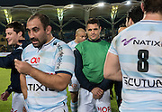 Racing 92 player DAN CARTER chooses to keep celebrations subdued following the teams win at the Natixis Cup rugby match between French team Racing 92 and New Zealand team Otago Highlanders at Sui San Wan Stadium in Hong Kong