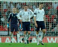Photo: Richard Lane.<br />England v Brazil. International Friendly. 01/06/2007. <br />England's Steve Gerrard (rt) shows his dejection as Brazil score a late equalising goal.
