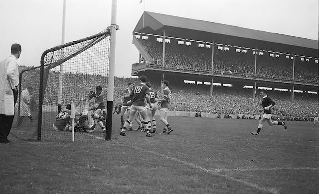 Rough tackles in the Kerry goalmouth, Packed with Westmeath forwards, the referee awarded a free to Kerry during the All Ireland Minor Gaelic Football Final Kerry v. Westmeath in Croke Park on the 22nd September 1963.