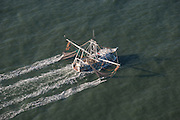Aerial view of a shrimp boat along the Isle of Palms, South Carolina.