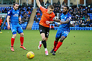 Peterborough United midfielder Anthony Grant (42) and Southend United defender Jason Demetriou (24) during the EFL Sky Bet League 1 match between Peterborough United and Southend United at London Road, Peterborough, England on 3 February 2018. Picture by Nigel Cole.
