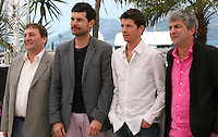 Actors Patrick D'assumçao, Christophe Paou, Pierre Deladonchamps with director Alain Guiraudie. at the L'inconnu Du Lac film photocall at the Cannes Film Festival 17th May 2013