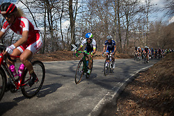 Katarzyna Niewiadoma (Rabo-Liv Cycling Team) and Katrin Garfoot (Orica-Greenedge Cycling Team) joins the chase in the long loop of the Trofeo Alfredo Binda - a 123.3km road race from Gavirate to Cittiglio on March 20, 2016 in Varese, Italy.
