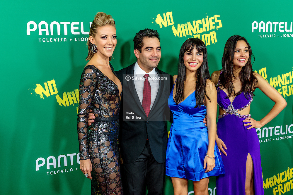 LOS ANGELES, CA - AUGUST 31 Left to right Actess Fernanda Castillo, Actor Omar Chaparro, Actress Martha Higareda and Actress Karen Furlong  pose for the press at the red carpet premiere of the film No Manches Frida the the Regal Cinemas in downtown Los Angeles on Tuesday night 2016 August 31. Byline, credit, TV usage, web usage or linkback must read SILVEXPHOTO.COM. Failure to byline correctly will incur double the agreed fee. Tel: +1 714 504 6870.