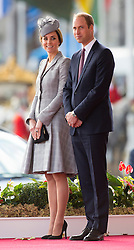 LONDON- UK -21-OCT-2014: The Duke and Duchess of Cambridge, Prince William and Catherine (Kate) accompany  The President of the Republic of Singapore, Tony Tan Keng Yam accompanied by Mrs Tony Tan Keng Yam,  to Horseguards Parade for the Official Welcome Ceremony. The President of the Republic of Singapore, Tony Tan Keng Yam accompanied by Mrs Tony Tan Keng Yam are on a State Visit to the United Kingdom as the guests of Her Majesty The Queen, from Tuesday 21st October to Friday 24th October 2014.<br /> The Queen and The Duke of Edinburgh formally welcome The President and Mrs Tan at the Royal Pavilion on Horse Guards Parade. Presentations are made and following The President, accompanied by The Duke of Edinburgh,  inspects the Guard of Honour.<br /> This is the first official engagement for the Duchess since she announced that she is expecting her second child next April.<br /> Photograph by Ian Jones