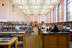 Interior view of A.E. Doyle?s Multnomah County Library Central in Portland, OR