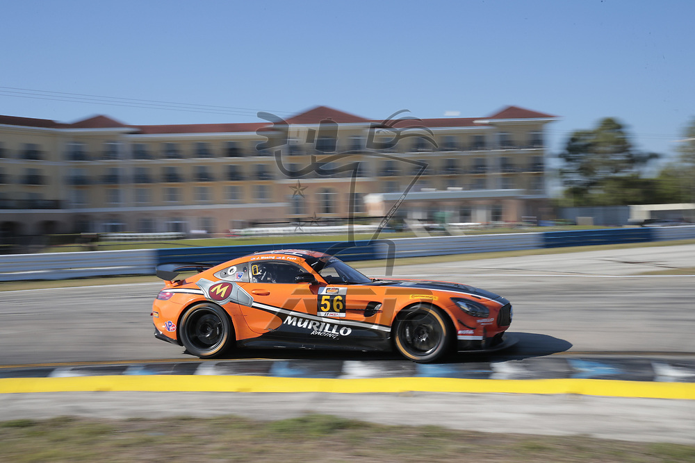 March 15, 2018 - Sebring, Florida, USA:  The Murillo Racing/ Mosing Motorsports Mercedes-AMG GT4 races through the turns at the Alan Jay Automotive Network 120 at Sebring International Raceway in Sebring, Florida.